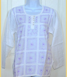 Embroidered-White-Cotton-Tunic-Top-Kurti-Long-Sleeve-Blouse-from-India