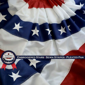 Details about  /USA 2x4/'Ft EmbroideredPleated Fan Bunting FlagStarsSewn Stripes BrassGrommet