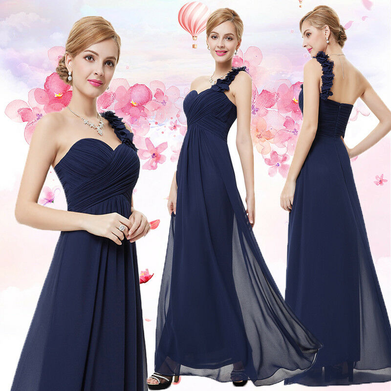 Ever-pretty Long One-shoulder Bridesmaid Formal Party Gown Navy bluee Dress 09768
