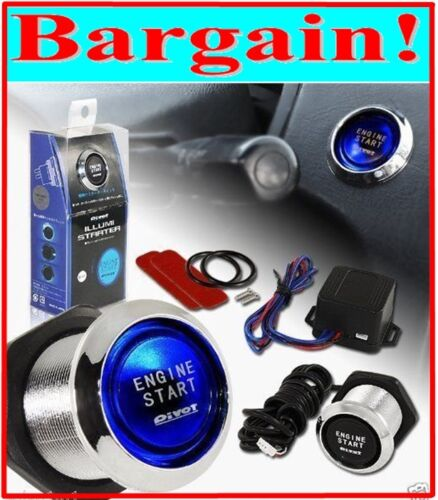 PIVOT CAR ENGINE START PUSH BUTTON CONTROL SWITCH IGNITION STARTER KIT BLUE LED
