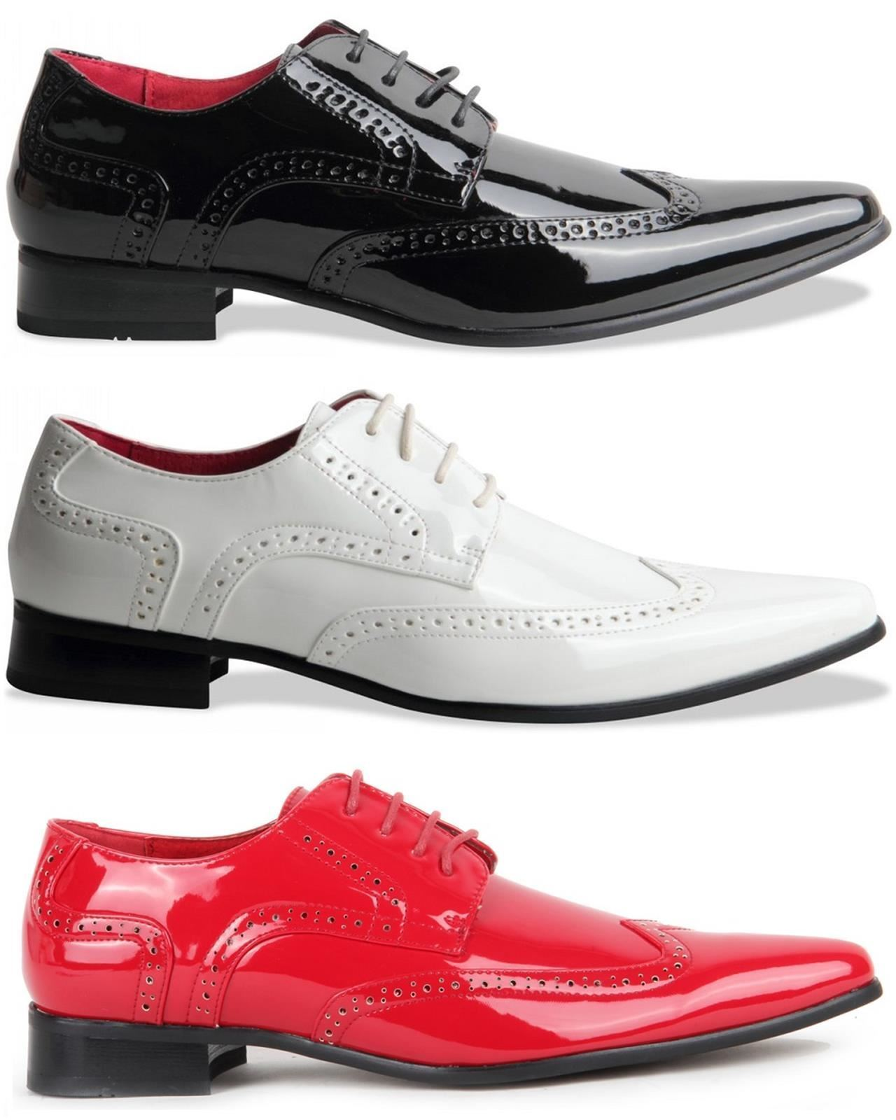 Mens Smart Lace Up Pointed Toe Brogue Formal Patent Leather Lined shoes