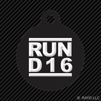 Run D16 Keychain Round With Tab Dog Engraved Many Colors D Series Jdm
