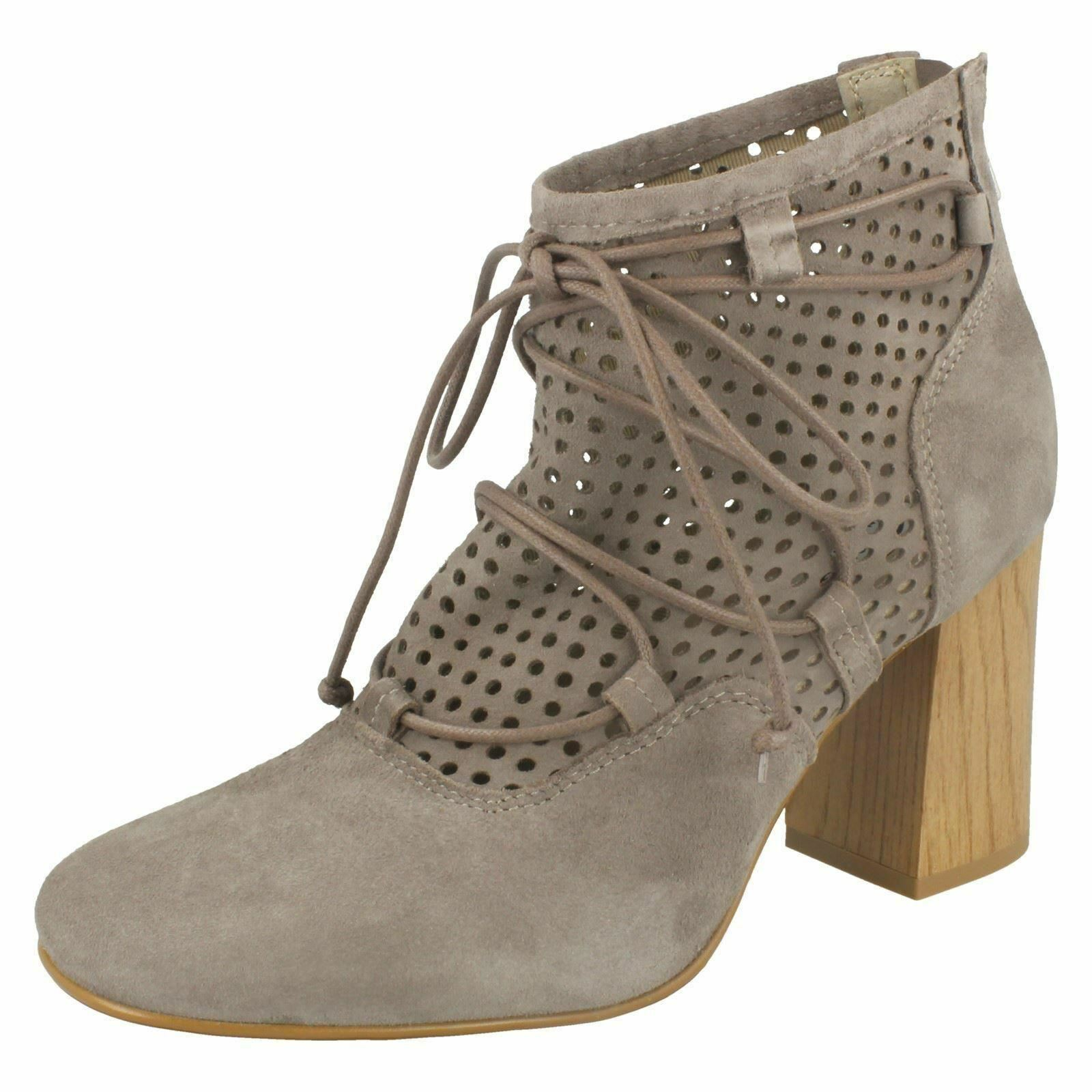 Ladies Clarks Jazlyn Berry Taupe Suede Leather Heeled Ankle Boots