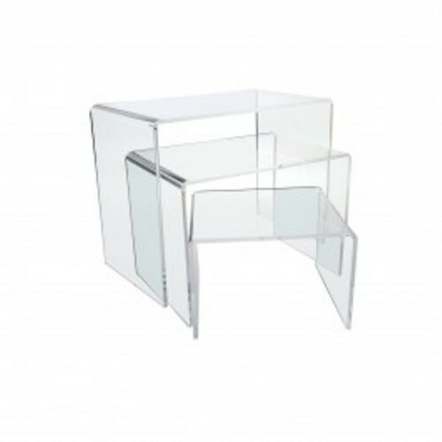 "White Set of 3 Acrylic Risers 4/"" 6/"" 8/"" Display Stand Holder"