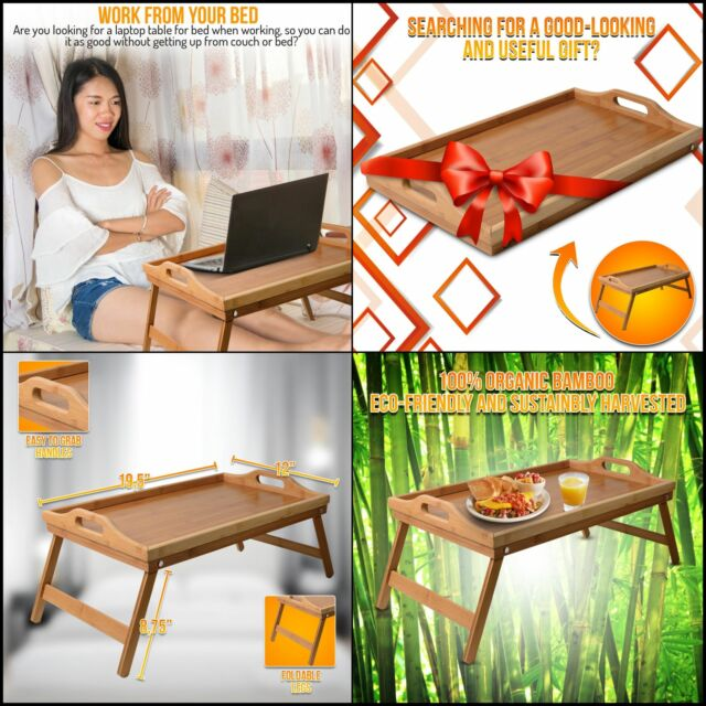 Enjoyable Breakfast Bed Tray Table With Legs Organic Bamboo Bed Food Lap Trays For Eating Gmtry Best Dining Table And Chair Ideas Images Gmtryco