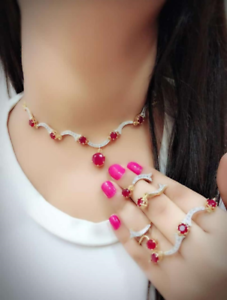 Indian Women Gold Plated Combo Necklace Set Jewelry Bracelet Ring Fashion Gift