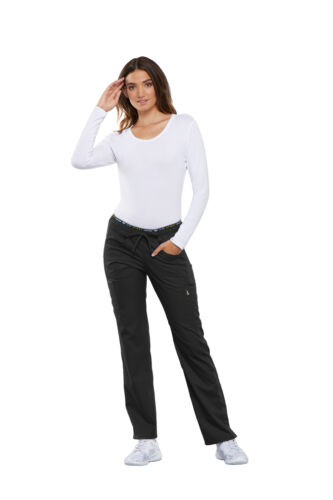 Luxe Sport CK003 Womens Mid Rise Straight Leg Drawstring Pant by Cherokee