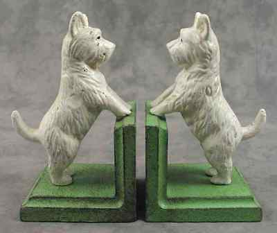 PAIR OF WEST HIGHLAND WHITE TERRIER WESTIE DOG Cast Iron HEAVY BOOKENDS