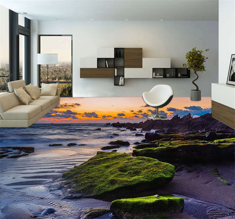 Sea Crag Nature Sky 3D Floor Mural Photo Flooring Wallpaper Home Kids Wall Decal