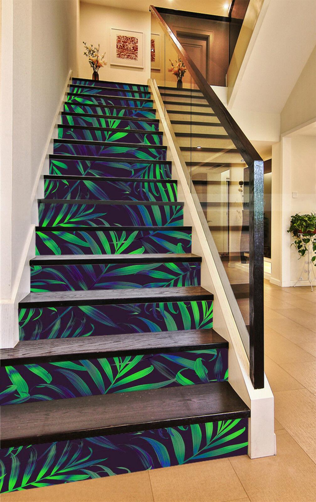 3D Grüne Blätter 07 Stair Risers Dekoration Fototapete Vinyl Aufkleber Tapete DE
