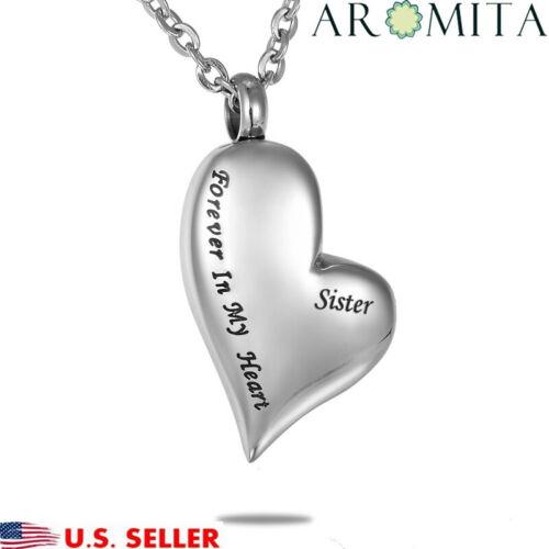 "/""Sister Forever In My Heart/"" Cremation Memorial Keepsake Urn Holder Necklace"