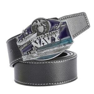 Men-039-s-Leather-Belt-Metal-Buckle-Navy-Pattern-Western-Cowboy-Style-Belt-Strap