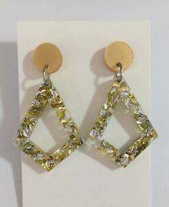 05ceac45f Image is loading Kite-Dangle-Earrings-Pearl-Gold-Silver-Acrylic-Glitter-