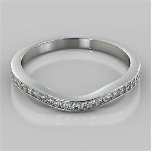 0.33 Ct Round Real Moissanite Eternity Band 14K White Gold Wedding Ring Size 5