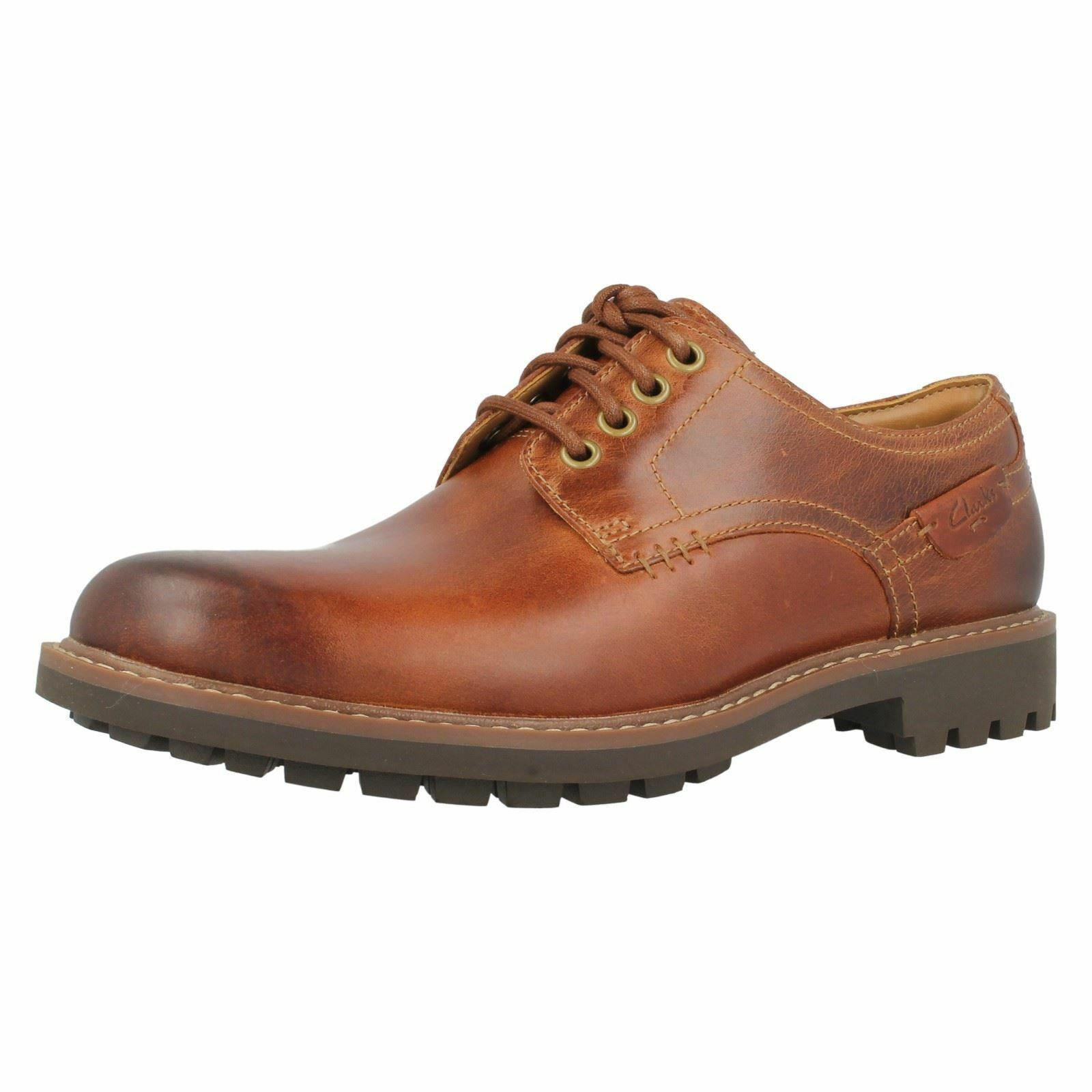 Clarks Montacute Hall Dark Tan Pelle Lacci Casual Scarpe Derby