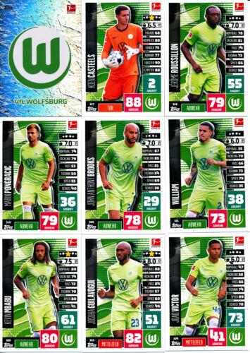 VfL Wolfsburg Tous les 18 Base Cartes compl Incl. 4 specs Match Attax BL 20 21