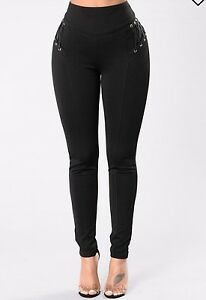 black pants with lace up detail size medium