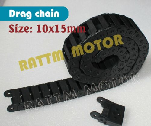 2PCS 10 x 15mm Cable Drag Chain Plastic Carrier Towline 1000mm for CNC Router