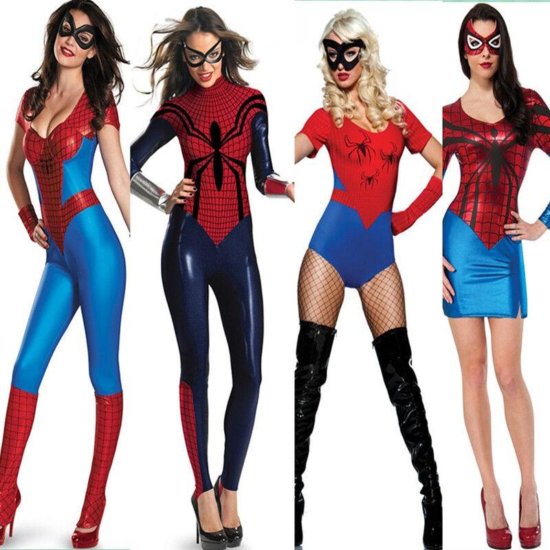 Cosplay Costume Party Sexy Women Spiderman Bodysuit Spiderman Wrist & Eye Mask