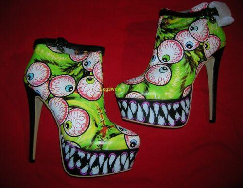 Iron Fist Timmy Chew Green Eyeball Fang Platform Bootie Boot Womens 9 Halloween