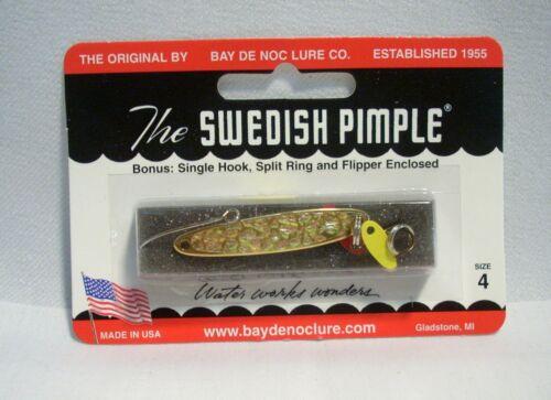 Bay De Noc Swedish Pimple 1//4 oz Gold Ice Fishing Jig Lure Size 4 w//Bonus
