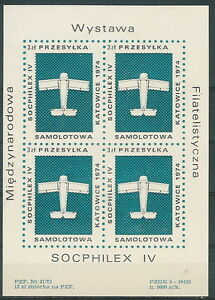 Poland - aviation label 1974 airplane SOCPHILEX IV (sheet) - Bystra Slaska, Polska - Poland - aviation label 1974 airplane SOCPHILEX IV (sheet) - Bystra Slaska, Polska
