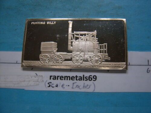 1.9 OZ LOCOMOTIVE PUFFING BILLY 1813 SILVER ART BAR RARE COOL