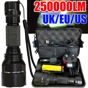250000LM-Waterproof-T6-LED-Torch-Tactical-Military-Flashlight-Headlamp-Outdoor