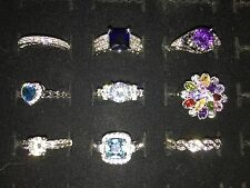 RINGS LOT of  9 Fashion Costume jewelry size 6+ gem stone