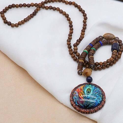 VINTAGE plume de paon bois de santal Collier long Bijoux