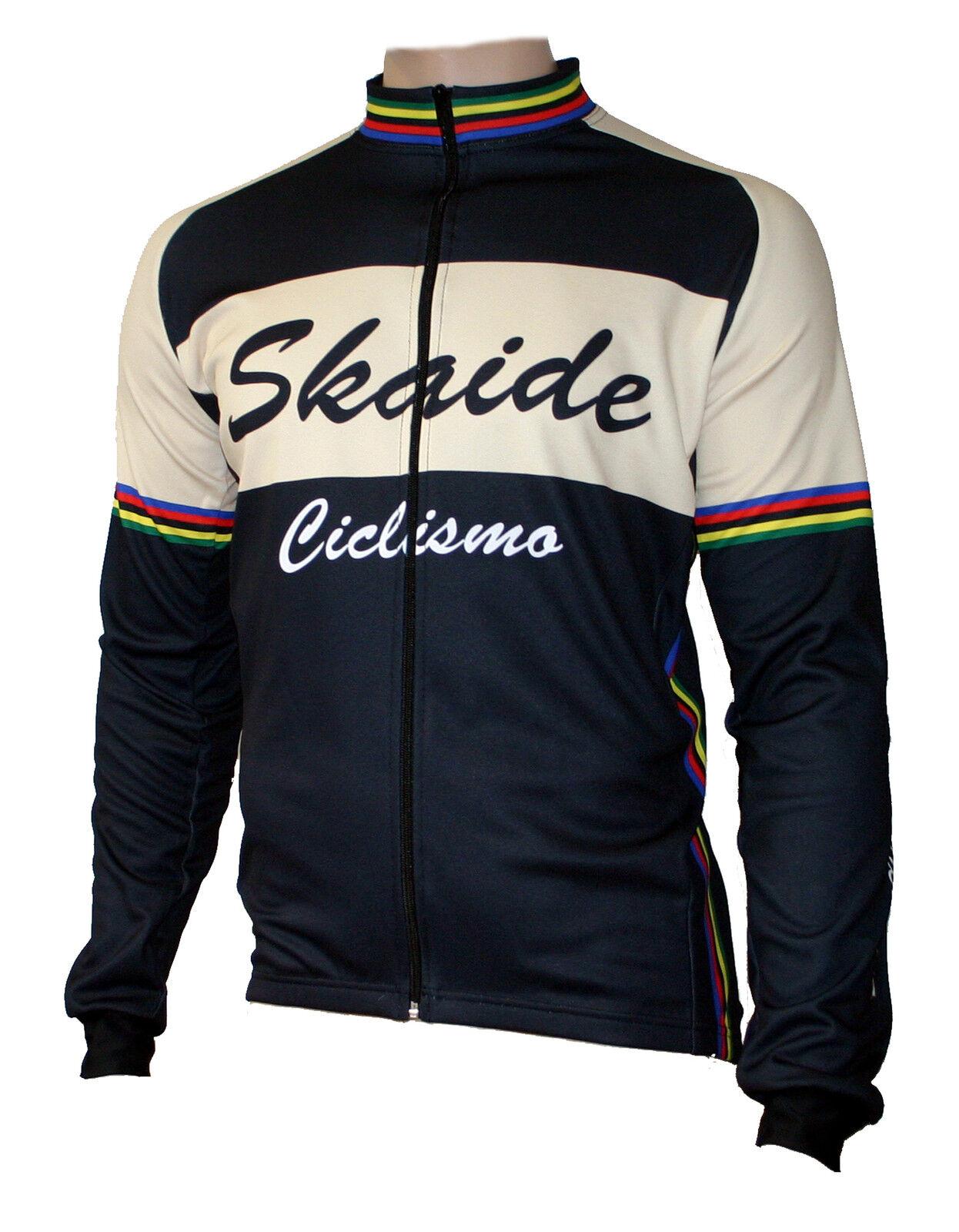 Radtrikot Skaide Ciclismo Retro schwarz creme langarm (auch Übergrößen bis 6XL)