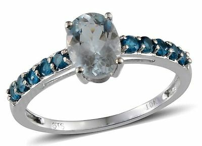 Aquamarine and Neon Apatite Ring 10 K white Gold 1.50 cts size 7