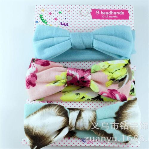 3Pcs//Set Baby Girls Kids Cotton Bowknot Headband Children Hair Band Headwear
