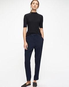 Jigsaw Rib Trim Relaxed Trousers Womens New Black