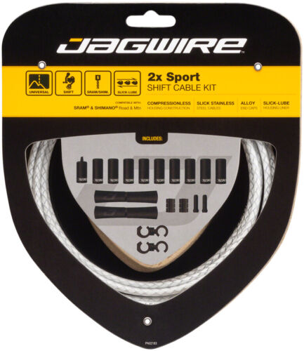 Jagwire 2x Sport Shift Cable Kit SRAM//Shimano Braided White