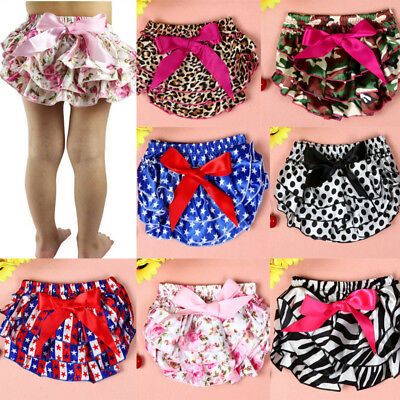 Newborn Baby Infant Girl Bowknot Ruffle Bloomer Nappy Underwear Diaper Casual