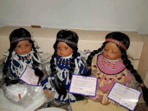 Goldenvale Collection American Indian Porcelain Doll with Matching Drum Limited