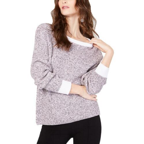 INC Womens Pink Cotton Marled Crewneck Sweater Top XL BHFO 5098