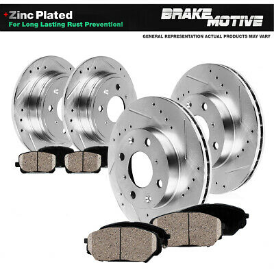 Fit 2012-2013 Fiat 500 Front Rear PSport Drill Slot Brake Rotors+Ceramic Pads