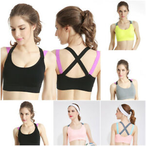Women-Ladies-Sports-Bra-Underwear-Padded-Shape-Wear-Yoga-Vest-Cross-Beauty-Pink