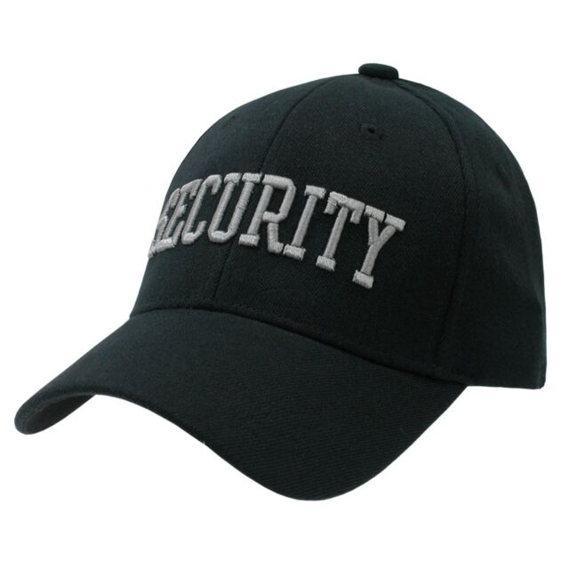 Security Guard Officer Flex Baseball Cap Caps Hat Hats Black   Grey Size  SM MED 44afdbe2d81