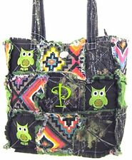 Western Mossy Oak Tree Aztec Patchwork Tote OWL Embroidery Rag Bag MONOGRAM GRN