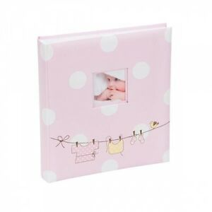 Large Baby Girl Pink Ribbon Traditional Photo Album Hold 500 Photos
