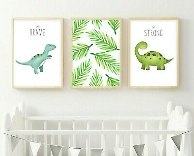 3 Modern Dinosaur Prints Dinos Nursery Wall Art Decor Pictures Stomp Roar