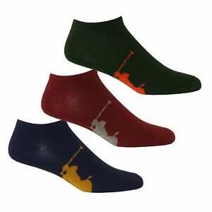 on sale 0b869 3ef6e Dettagli su Polo Ralph Lauren 3-Pack calzini da uomo, Navy/blu/Borgogna