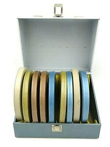 Vintage-Tin-Movie-Reel-Canisters-with-Smith-Victor-Storage-Case