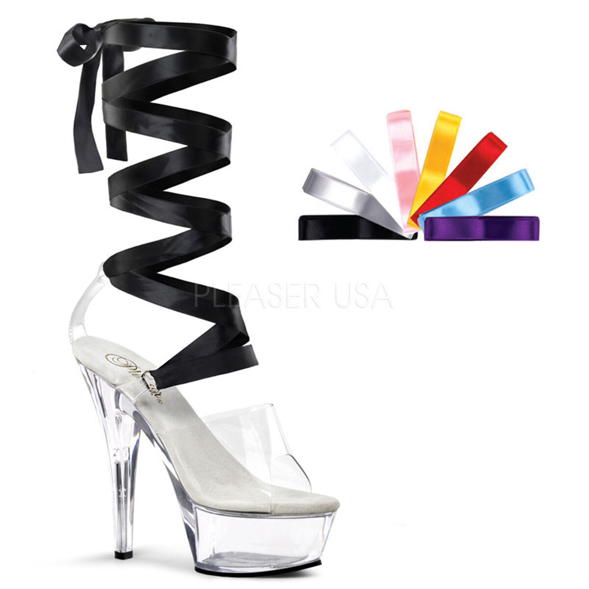 PLEASER Sexy shoes Ribbon Lace Clear Platform 6  Stripper Heels - 8 COLORS