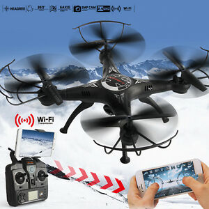 X5SW WIFI FPV 2.4Ghz 4CH 6-Axis RC Quadcopter Drone 2MP Camera HD Black RTF New
