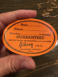 vintage original gibson guitar oval orange label kalamazoo gum backed sticker ebay. Black Bedroom Furniture Sets. Home Design Ideas