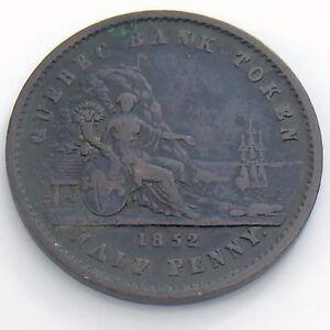 1852-One-1-2-Half-Penny-Province-Canada-Un-Sou-Copper-Quebec-Bank-Token-H966